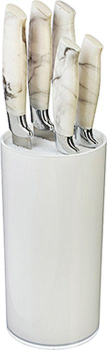 """Набор ножей Satoshi состоит из пяти ножей и подставки. Лезвия ножей изготовлены из высококачественной нержавеющей стали, которая обеспечивает высокие режущие свойства кромки клинка. Лезвия долгое время сохраняют остроту и полировку. Ножи прекрасно подходят для ежедневной резки фруктов, овощей и мяса. Эргономичные рукоятки выполнены из бакелита. Для хранения ножей предусмотрена удобная подставка с полипропиленовыми разделителями. Этот набор включает все необходимое для каждодневного приготовления пищи. Стильный современный дизайн украсит интерьер вашей кухни. Набор включает:  Нож кухонный 20 см. """"шеф"""". Нож для хлеба 20 см. Нож разделочный 20 см. Нож кухонный 12,7 см. универсальный. Нож для овощей 9 см. Подставка для ножей."""
