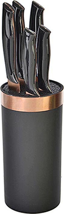 """Набор ножей Satoshi состоит из пяти ножей и подставки. Лезвия ножей изготовлены из высококачественной нержавеющей стали с """"титановым"""" покрытием, которая обеспечивает высокие режущие свойства кромки клинка. Лезвия долгое время сохраняют остроту и полировку. Ножи прекрасно подходят для ежедневной резки фруктов, овощей и мяса. Эргономичные рукоятки выполнены из бакелита. Для хранения ножей предусмотрена удобная подставка с полипропиленовыми разделителями. Этот набор включает все необходимое для каждодневного приготовления пищи. Стильный современный дизайн украсит интерьер вашей кухни.  Набор включает:  Нож кухонный 20 см.""""шеф"""". Нож для хлеба 20 см. Нож разделочный 20 см. Нож кухонный 12,7 см. универсальный. Нож для овощей 9 см. Подставка для ножей."""