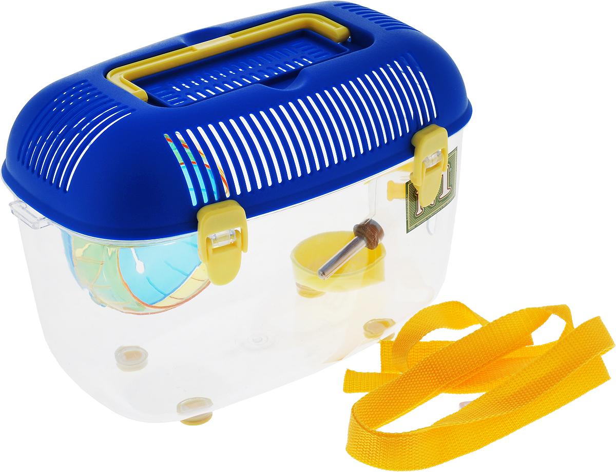 Переноска для грызунов №1, с кормушкой, поилкой, колесом, цвет: синий, 28,5 х 17 х 19,5 см эспандер ленточный starfit es 201 цвет синий 120 х 15 х 0 45 см