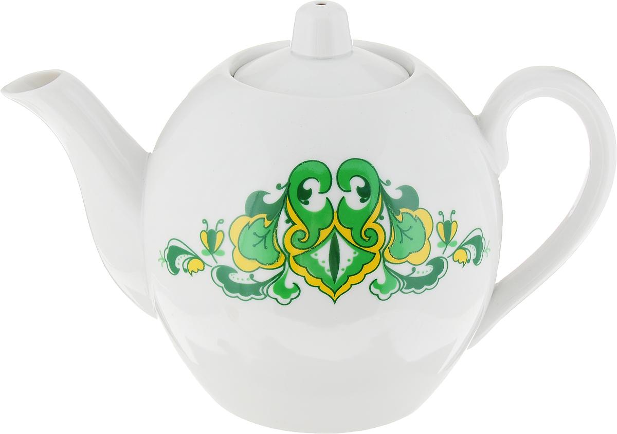 Чайник заварочный Фарфор Вербилок Казань, цвет: зеленый. 1640770116407701Для того чтобы насладиться чайной церемонией, требуется не только знание ритуала и чай высшего сорта. Необходим прекрасный заварочный чайник, который может быть как центральной фигурой фарфорового сервиза, так и самостоятельным, отдельным предметом. От его формы и качества фарфора зависит аромат и вкус приготовленного напитка. Именно такие предметы формируют в доме атмосферу истинного уюта, тепла и гармонии. Можно ли сравнить пакетик с чаем или растворимый кофе с заварными вариантами этих напитков, которые нужно готовить самим? Каждый их почитатель ответит, что если применить кофейник или заварочный чайник, то можно ощутить более богатый, ароматный вкус этих замечательных напитков.