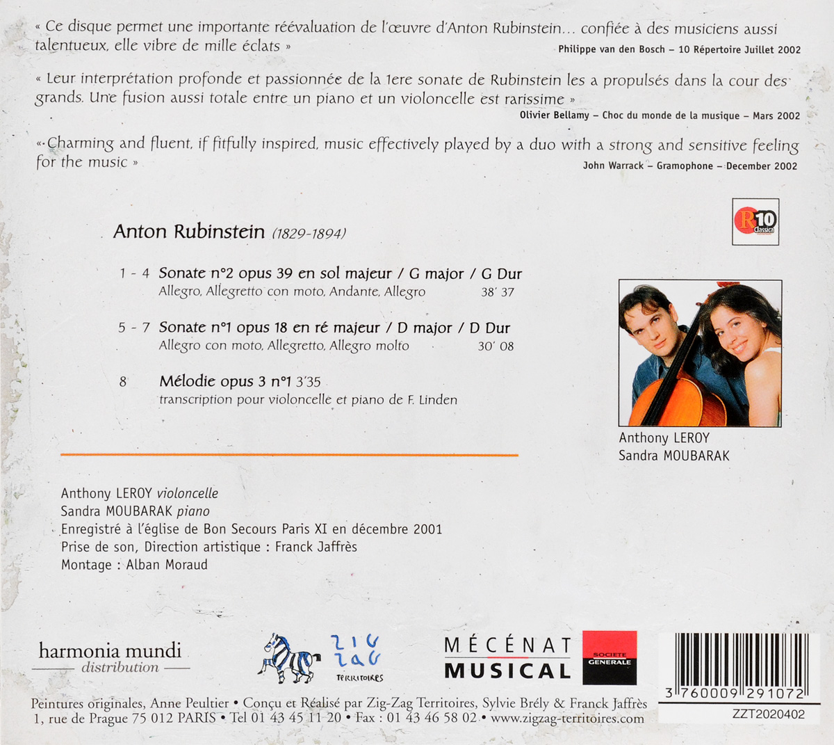 A.  Rubinstein.  Sonate Pour Violoncelle E