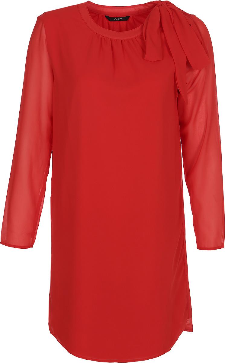 Платье Only, цвет: красный. 15153752. Размер 34 (40)15153752Платье от Only выполнено из 100% вискозы. Модель свободного кроя с длинными рукавами и круглым вырезом горловины. Горловина сбоку дополнена текстильными завязками.
