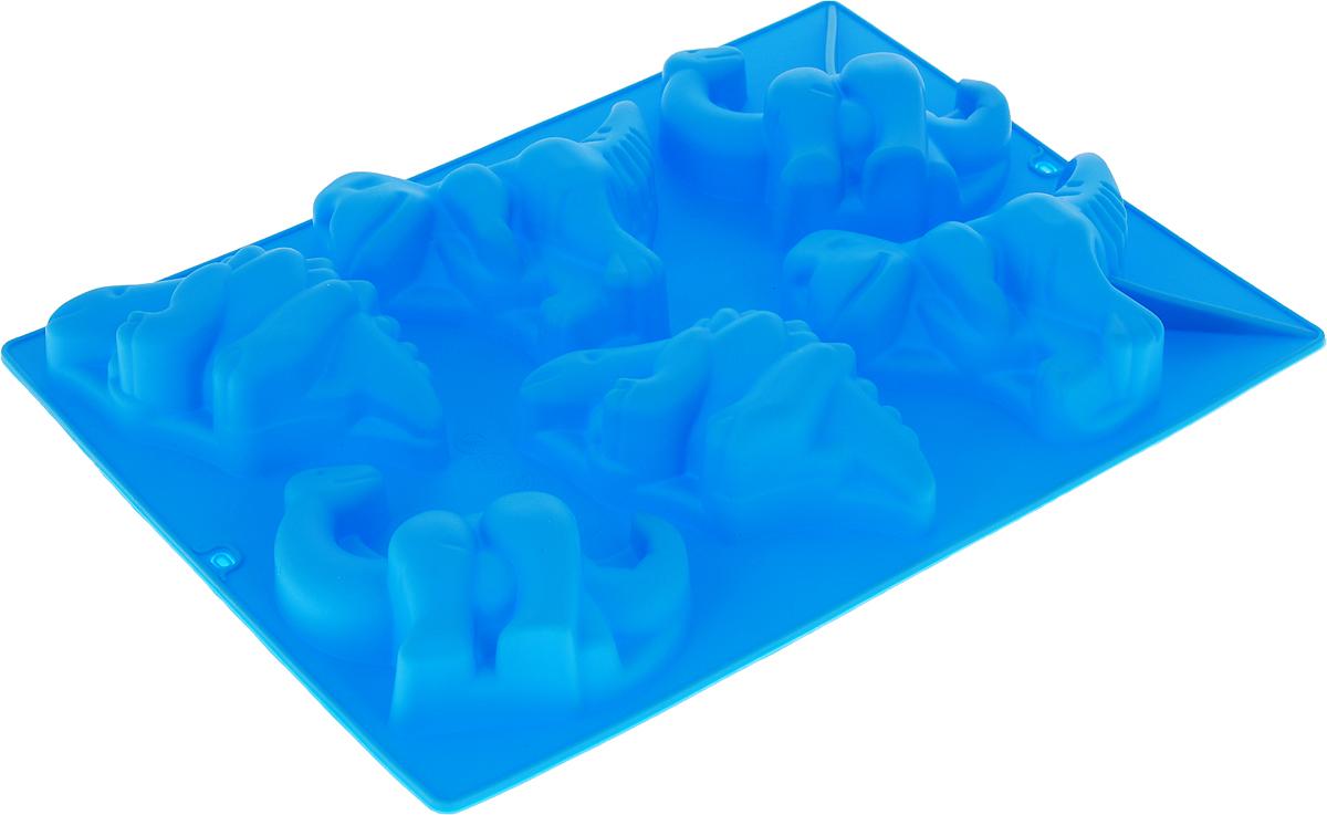 Форма для выпечки Доляна Динозавры, цвет: голубой, 29 х 21 см, 6 ячеек форма для 6 маффинов 29 4х21х3 5 см nadoba rada 761016