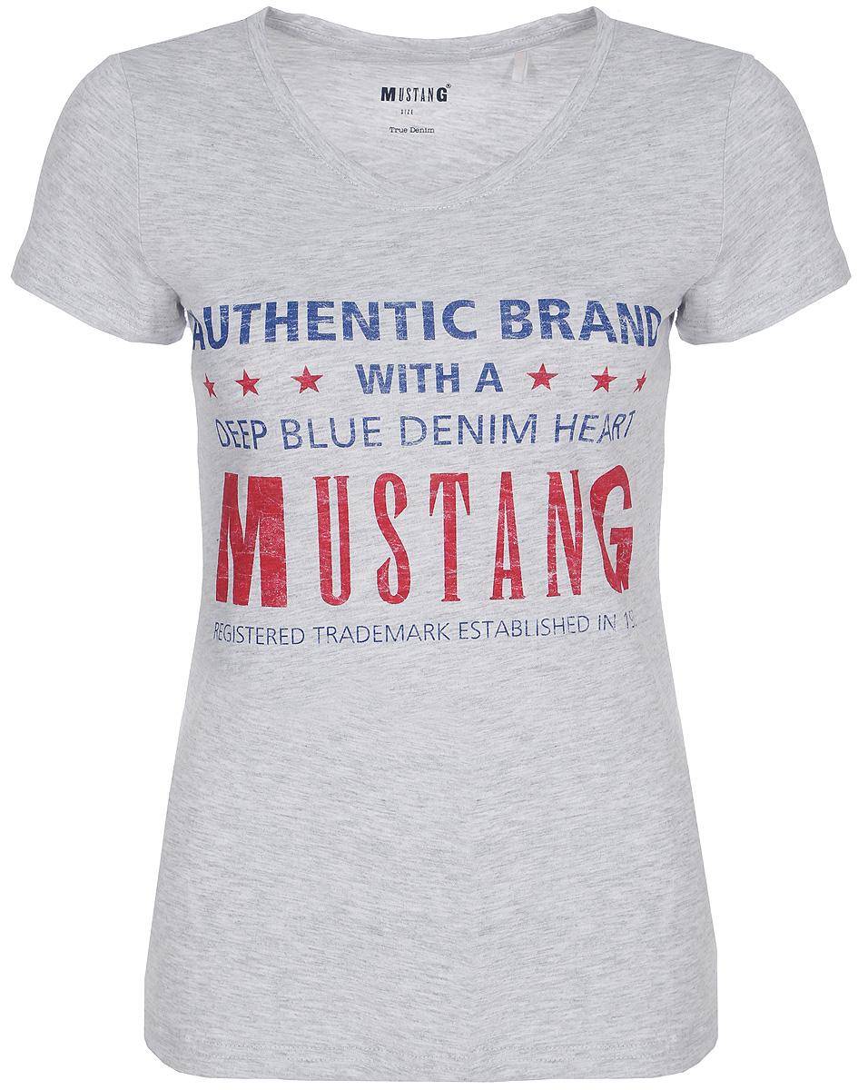 Футболка женская Mustang Logo Tee Special, цвет: серый. 1006035-4141. Размер XS (40/42)