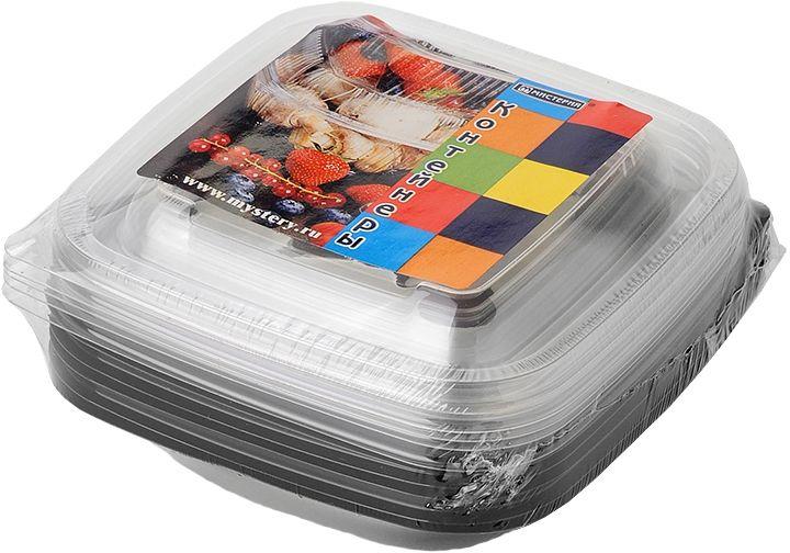 Набор одноразовых контейнеров Мистерия, квадратные, цвет: черный, прозрачный, 250 мл, 5 шт набор контейнеров idea квадратные цвет салатовый 0 5 л 3 шт