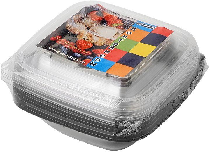 Набор одноразовых контейнеров Мистерия, квадратные, цвет: черный, прозрачный, 375 мл, 5 шт набор контейнеров idea квадратные цвет салатовый 0 5 л 3 шт