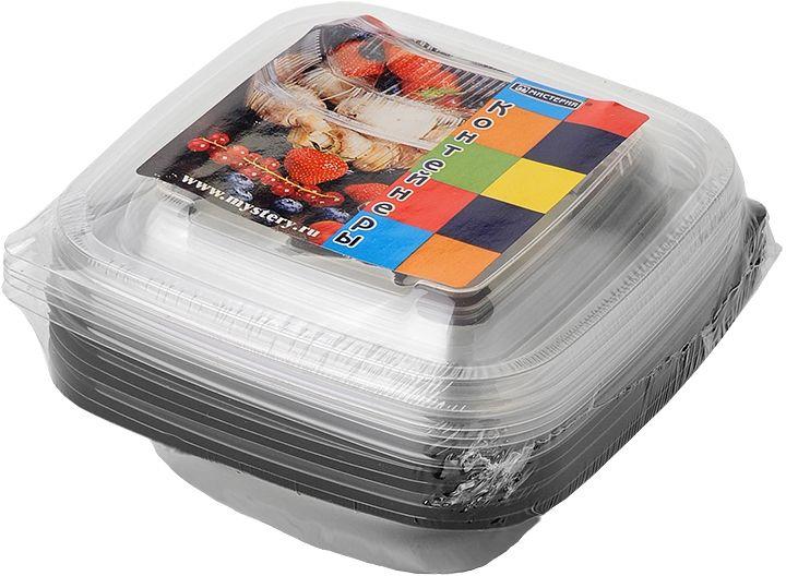 Набор одноразовых контейнеров Мистерия, квадратные, цвет: черный, прозрачный, 500 мл, 5 шт набор контейнеров idea квадратные цвет салатовый 0 5 л 3 шт