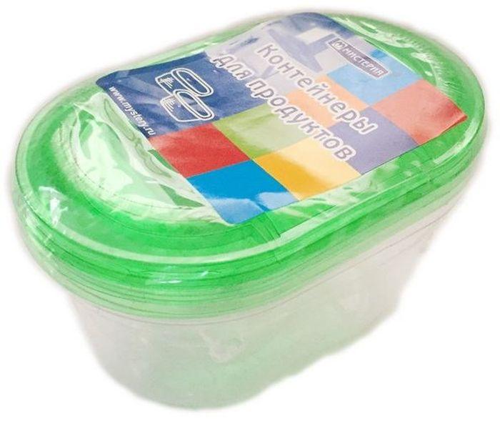 Набор одноразовых контейнеров Мистерия Ассорти, овальные, цвет: прозрачный, зеленый, 3 шт набор одноразовых контейнеров мистерия прямоугольные 750 мл 5 шт 186526
