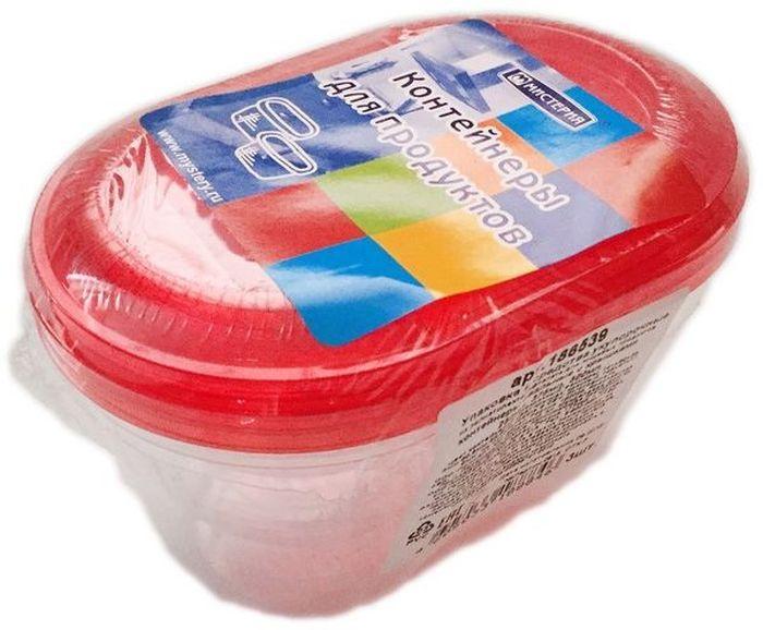 Набор одноразовых контейнеров Мистерия Ассорти, овальные, цвет: прозрачный, красный, 3 шт набор одноразовых ножей мистерия компакт 100 шт