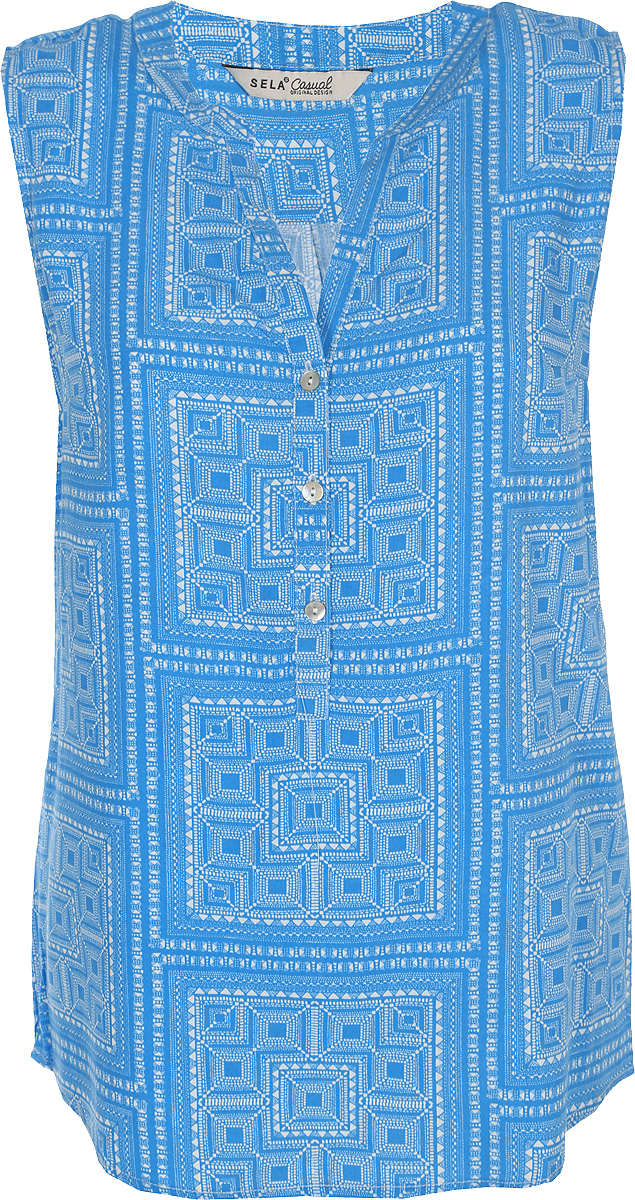 Блузка женская Sela, цвет: ярко-синий. Twsl-112/349-8293. Размер 50 блузка женская sela цвет красный twsl 112 805 8111 размер 44