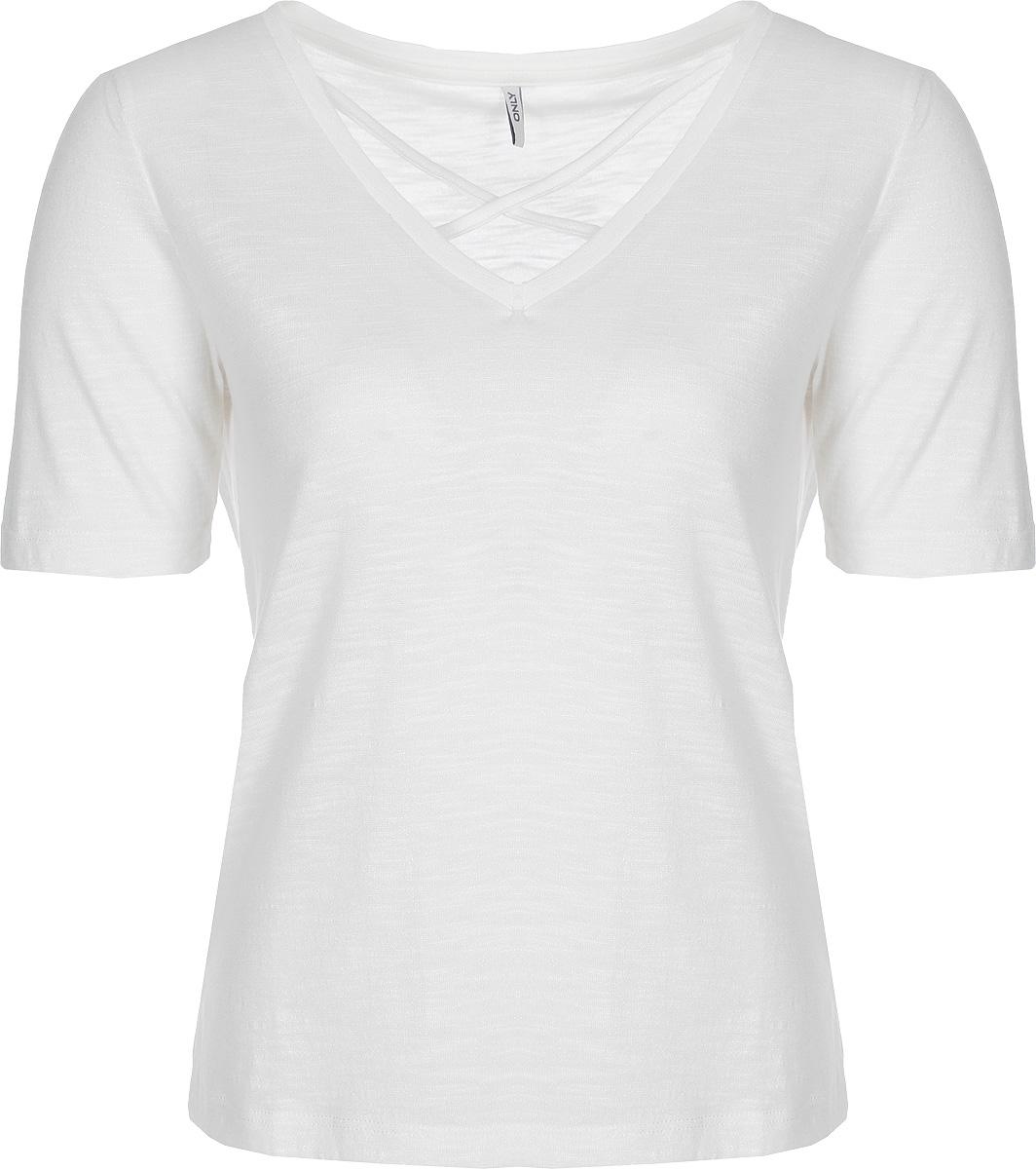 Блузка женская Only, цвет: белый. 15151006. Размер: XL(52)15151006Блузка от Only выполнена из полиэстера с добавлением вискозы. Модель с короткими рукавами и V-образным вырезом горловины.