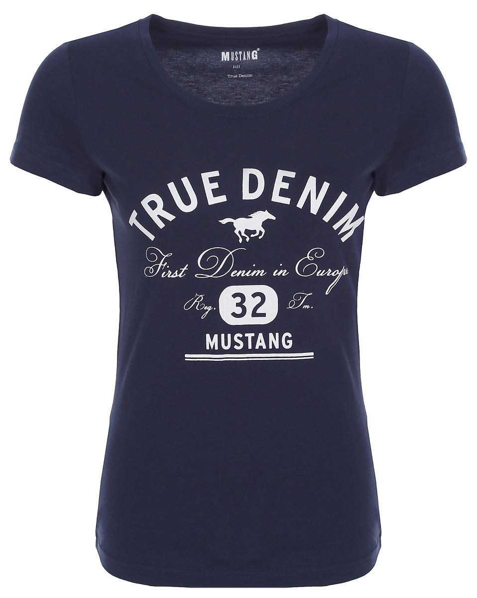 Фото Футболка женская Mustang Logo Tee Special, цвет: синий. 1006034-5228. Размер XS (40/42)