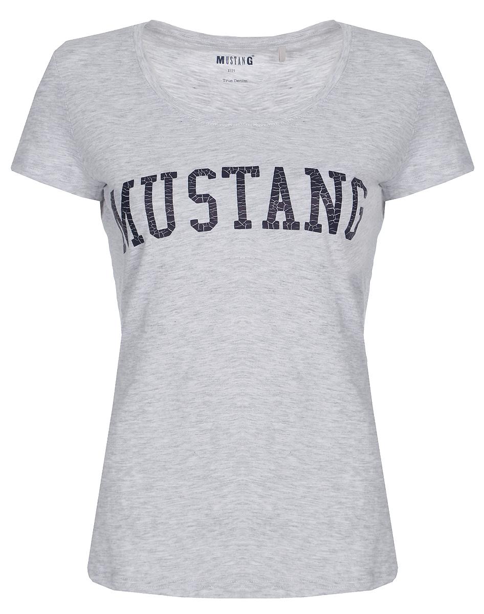 Фото - Футболка женская Mustang Print Tee, цвет: серый. 1005494-4141. Размер XS (40/42) girl print open shoulder tee