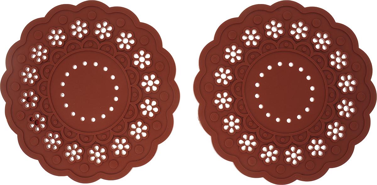 Набор подставок под горячее Доляна Затея, цвет: персиковый, 2 шт набор подставок под горячее lefard 259 151