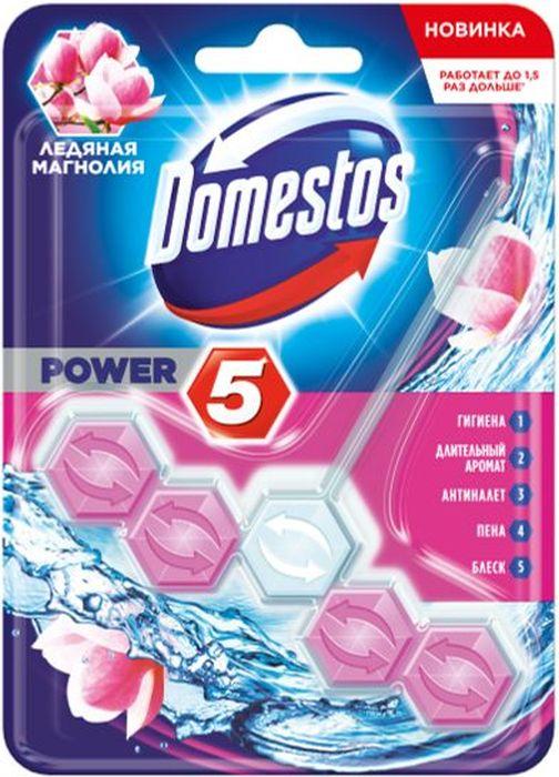 Туалетный блок для унитаза Domestos Power 5 Ледяная магнолия – это сила пяти компонентов:  1. Обильная пена.  2. Предотвращение известкового налета.  3. Длительный аромат.  4. Блеск.  5. Гигиена. Для достижения максимального эффекта поместите продукт в место наиболее сильного потока воды при смыве.