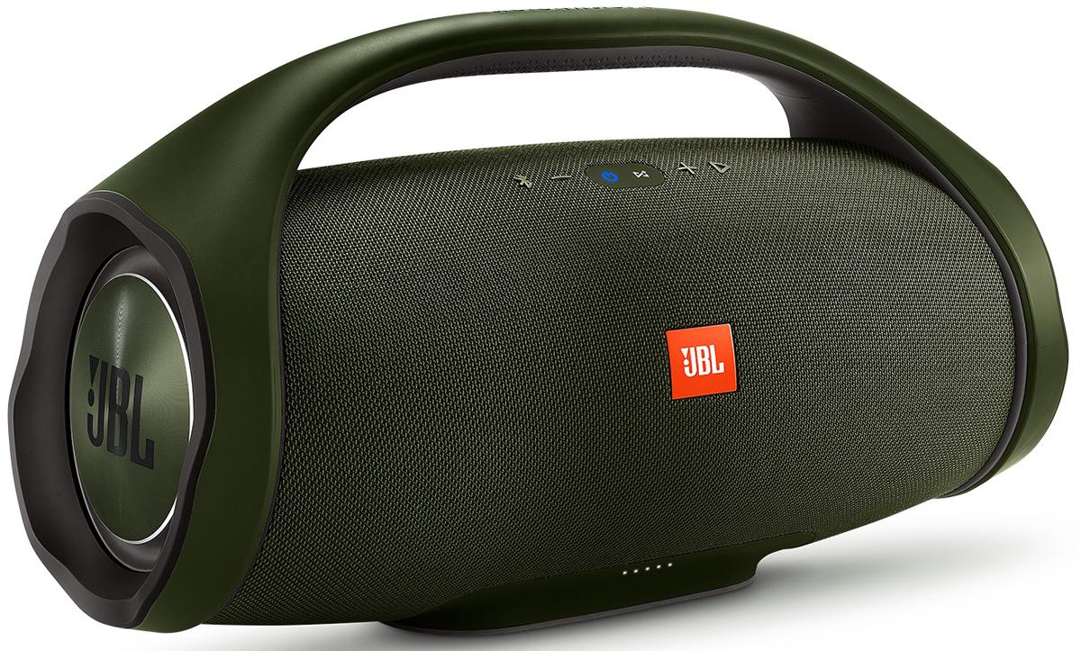 JBL Boombox, Green портативная акустическая системаJBLBOOMBOXGRNEUJBL Boombox создана стать самой мощной портативной акустической системой. Вы получаете невероятный звук наравне со взрывными басами. Наслаждайтесь звучанием музыки до последней ноты 24 часа в сутки. Вообразите, что вы прослушиваете любимую музыку весь день напролет без дополнительной подзарядки. Используйте объемный аккумулятор 20000 мАч и двойной выход для зарядки внешнего устройства в любое время и не отрывайтесь от прослушивания музыки. Система JBL Boombox имеет водонепроницаемый корпус со степенью защиты от воды IPX7, который стойко переносит любую погоду и даже самые грандиозные вечеринки у бассейна. Чтобы получить оптимальный звук, соответствующий месту проведения вечеринки, переключайтесь между режимами Комната и Улица. К тому же, если возникнет необходимость повысить мощность музыки, одним нажатием кнопки можно подключить более чем 100 акустических систем с технологией JBL Connect+ в диапазоне действия Bluetooth.