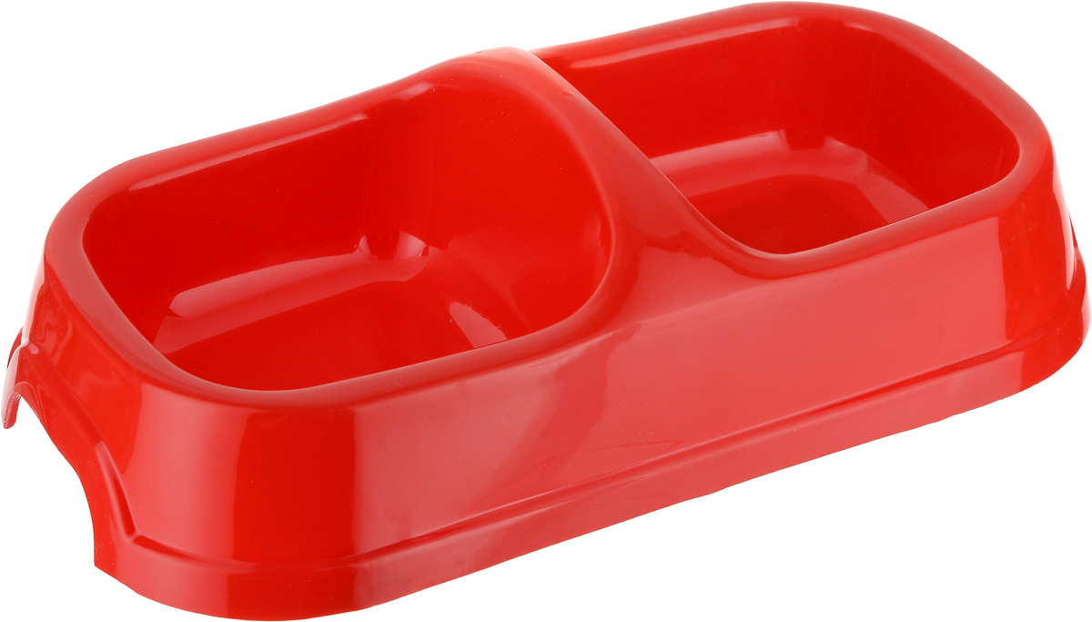 Миска для животных №1, двойная, цвет: красный, 2 х 150 мл приют для животных щелково