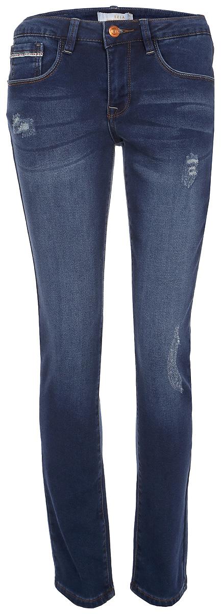 Брюки женские Sela, цвет: темно-синий джинс. Pk-315/809-8122. Размер 28-32 (44-32)Pk-315/809-8122