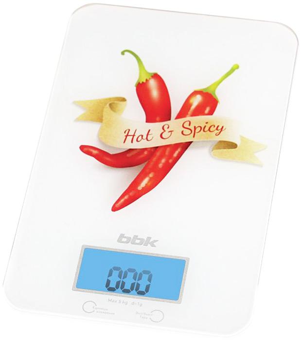 BBK KS106G Hot & Spicy весы кухонныеKS106GКухонные весы BBK KS106G Hot & Spicy Специи разработаны для взвешивания пищевых продуктов или небольших предметов. Платформа с безопасными углами изготовлена из закаленного стекла. Благодаря усовершенствованным сенсорам точность измерения составляет 1 г. Максимальный вес 5 кг. Большой ЖК-дисплей выводит значения в разных единицах на выбор: граммах (g), унциях (oz), фунтах (lb) и килограммах (kg). Существует полезная функция тарокомпенсации, позволяющая не учитывать вес емкости, в которой проводилось измерение. Отключение автоматическое.