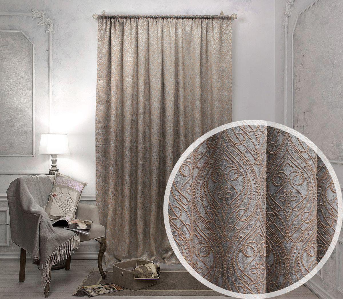 Портьера Amore Mio, на ленте, цвет: коричневый, высота 270 см. 10431043Жаккардовая портьера благородного шоколадного цвета с бежево-золотистым отливом. Полотно украшено абстрактным вензельным узором коричневого цвета, который как будто вышит поверх ткани. На ощупь портьера не слишком плотная, но не смотря на это прекрасно защищает от проникновения света и солнечных лучей. Штора подойдет как для спальни, так и для прочих комнат. Изделие на шторной ленте. Количество в упаковке - 1 шт. Размер 2,0x2,7 м.