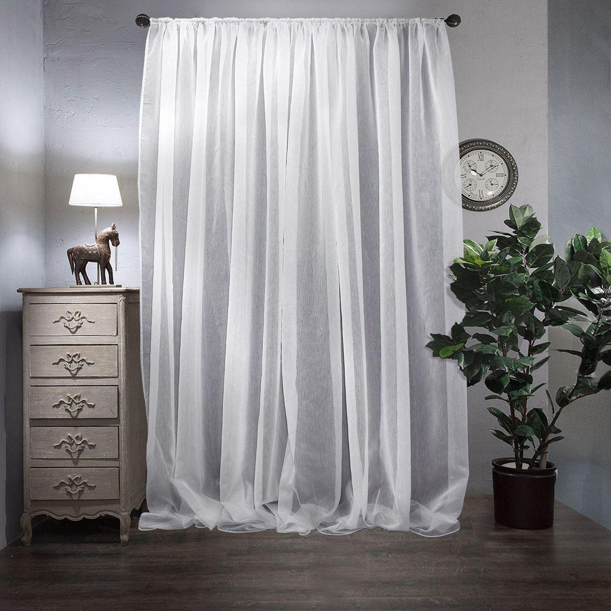 Тюль Amore Mio, на ленте, цвет: белый, высота 270 см. 1045 как тюль на окно