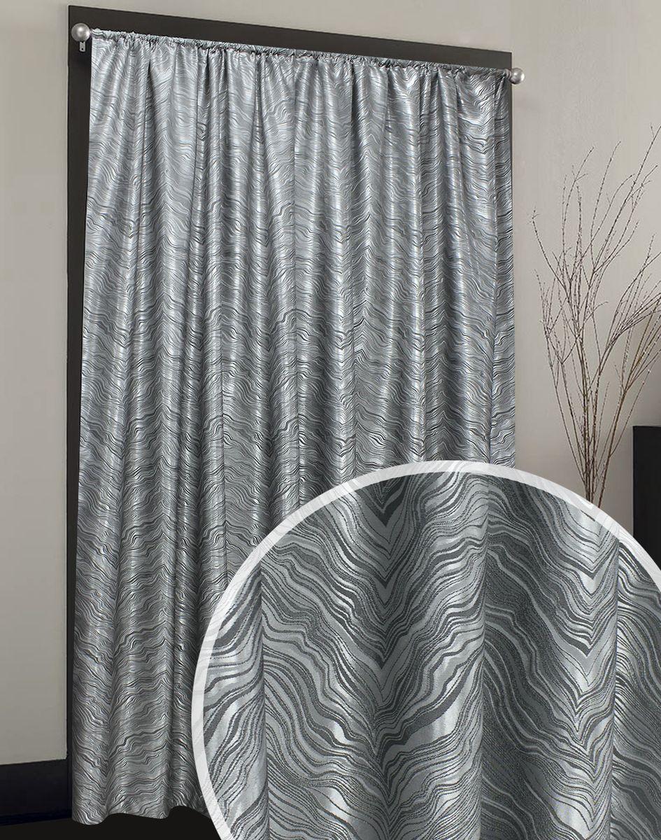 Портьера Печать Жаккард серого цвета с рельефным рисунком вензельной формы.  Ткань имеет благородный невычурный отлив. Структурный рисунок придает ткани объемный вид.  Прекрасно подойдет как для спальни, так и для прочих комнат.  Изделие на шторной ленте. Количество в упаковке - 1 шт. Размер 2x2,7 м.