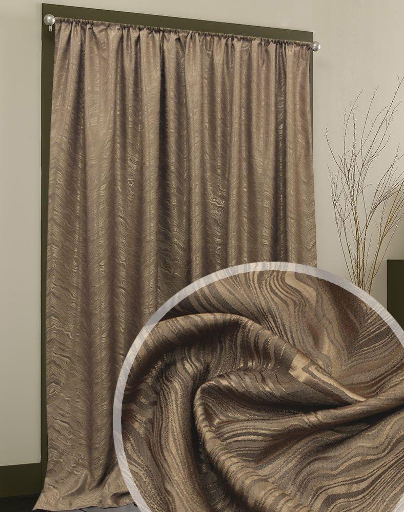 Портьера Жаккард коричневого цвета с рельефным рисунком вензельной формы.  Ткань имеет благородный невычурный отлив. Структурный рисунок придает ткани объемный вид.  Прекрасно подойдет как для спальни, так и для других комнат.  Изделие на шторной ленте. Количество в упаковке - 1 шт. Размер 2x2,7 м.