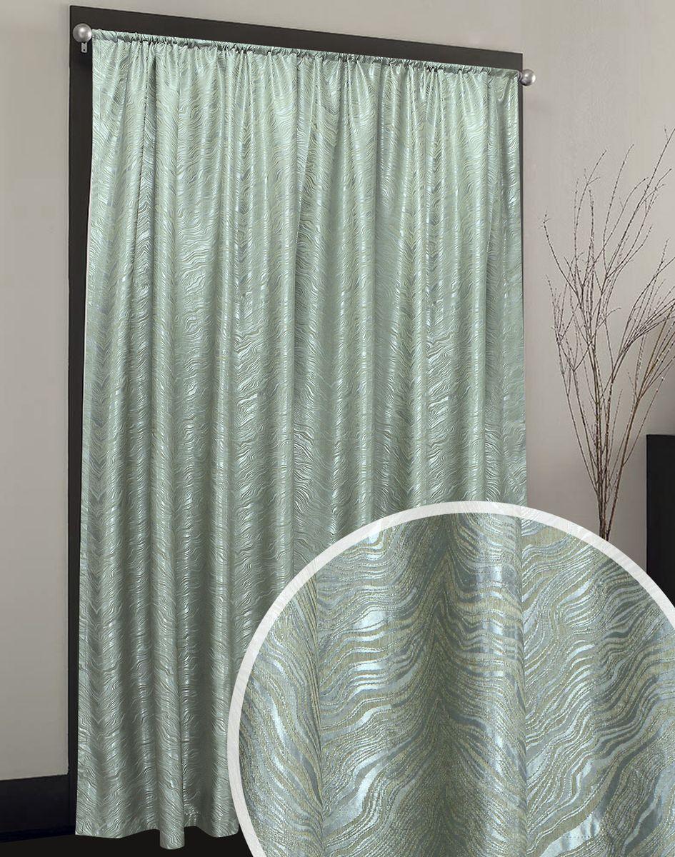 Портьера Жаккард бирюзового оттенка с рельефным бежевым рисунком вензельной формы.  Ткань имеет благородный невычурный отлив. Структурный рисунок придает ткани объемный вид.  Прекрасно подойдет как для спальни, так и для других комнат.  Изделие на шторной ленте. Количество в упаковке - 1 шт. Размер 2x2,7 м.
