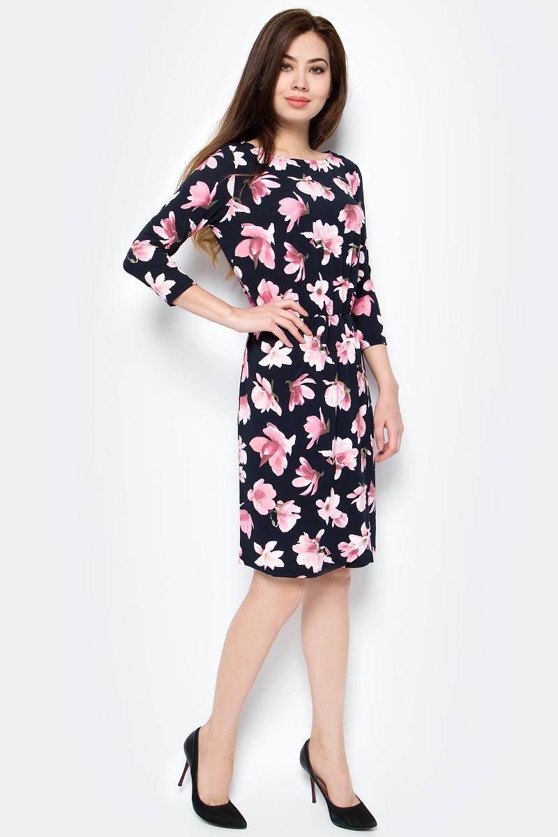 Платье Sela, цвет: темно-синий. DK-117/229-8112. Размер XS (42)DK-117/229-8112Платье Sela выполнено из полиэстера с добавлением эластана. Модель с круглым вырезом горловины и длинными рукавами оформлена оригинальным принтом.