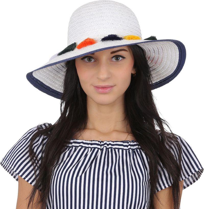 Купить Соломенная шляпа женская Fabretti, цвет: белый. V26. Размер 56/59