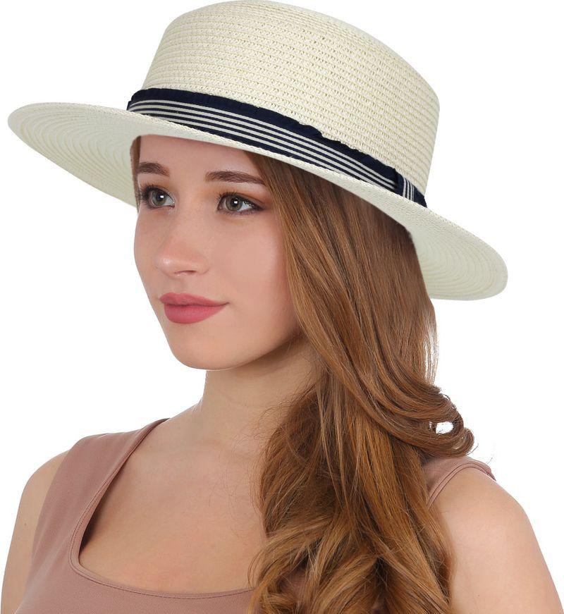 Соломенная шляпа женская Fabretti, цвет: белый. P7. Размер 56/59