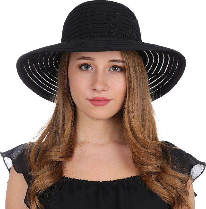 Купить Соломенная шляпа женская Fabretti, цвет: черный. V17. Размер 56/59