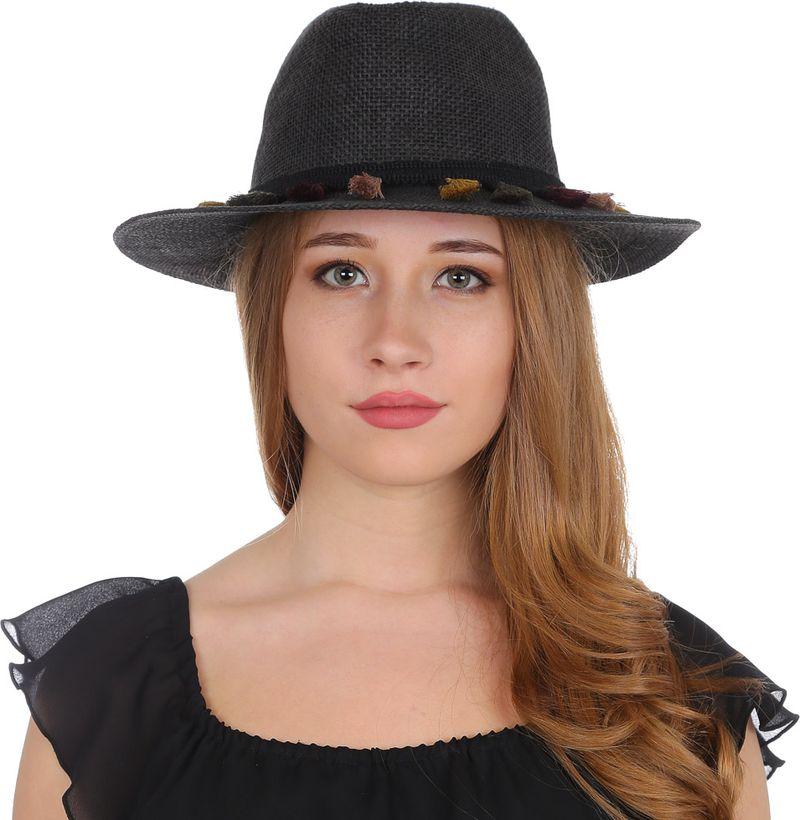 Купить Соломенная шляпа женская Fabretti, цвет: черный. V29. Размер 56/59