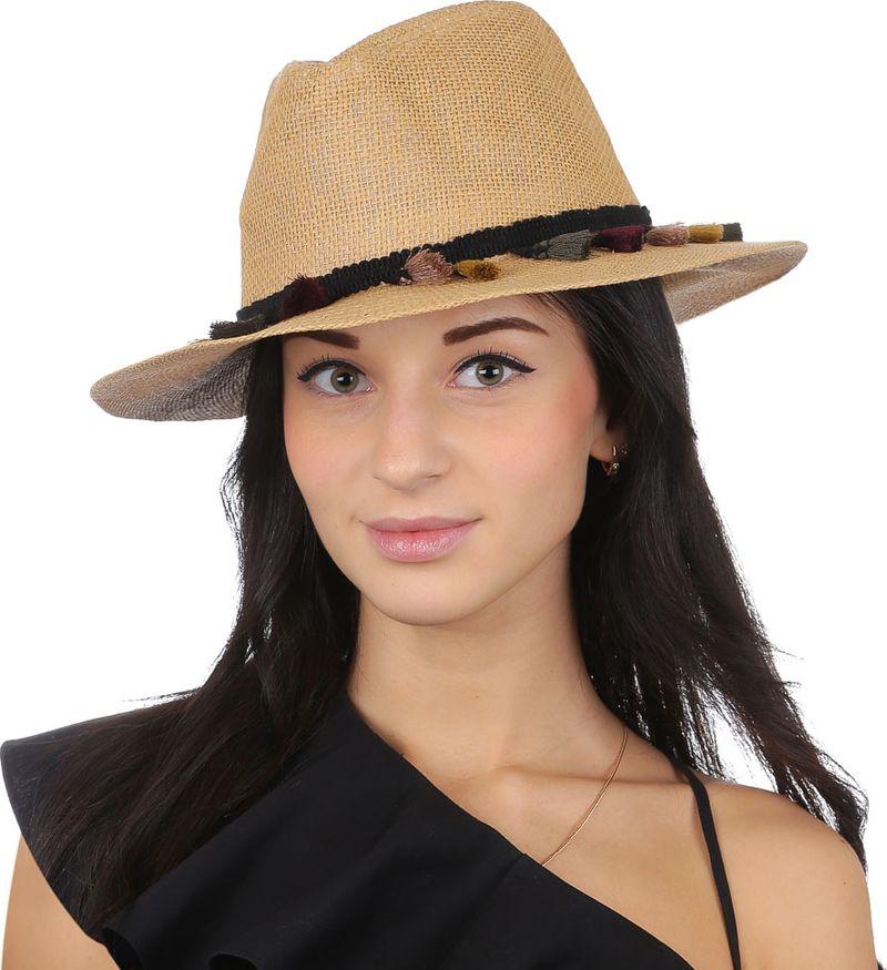 Соломенная шляпа женская Fabretti, цвет: бежевый. V29. Размер 56/59