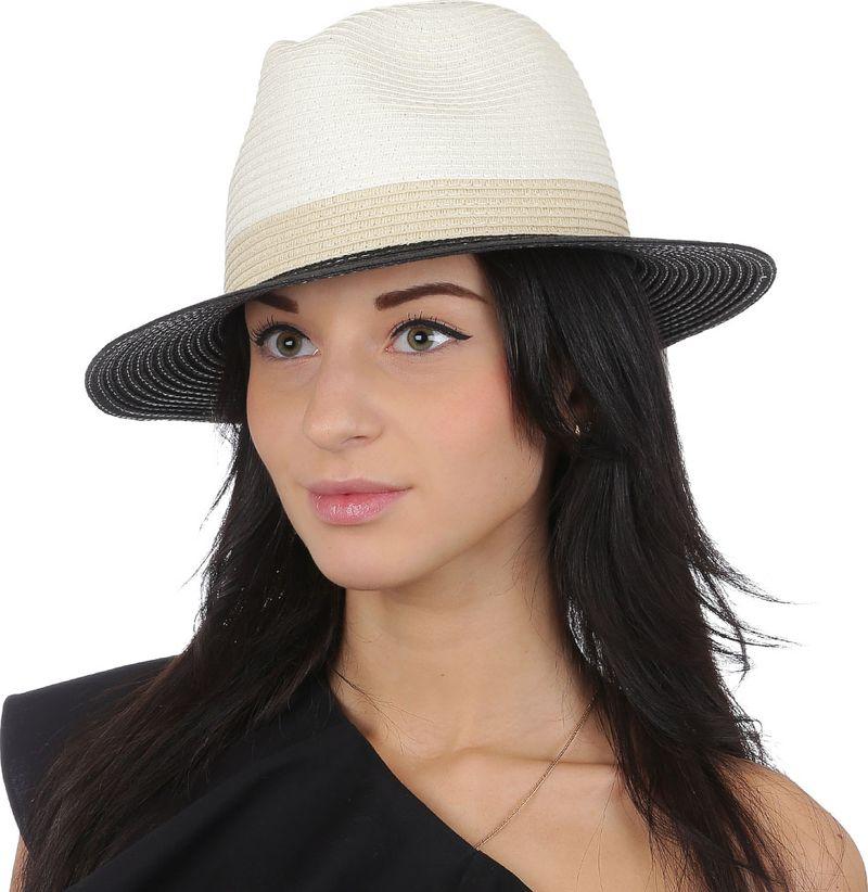 Соломенная шляпа женская Fabretti, цвет: бежевый. V27. Размер 56/59