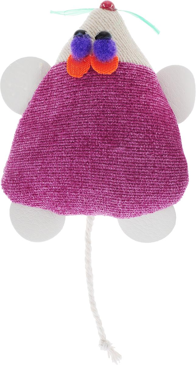 Игрушка для кошек GLG Мышка-норушка, цвет: сиреневый, 7 х 14 х 2,5 см игрушка для кошек трикси мышка заводная 7 см