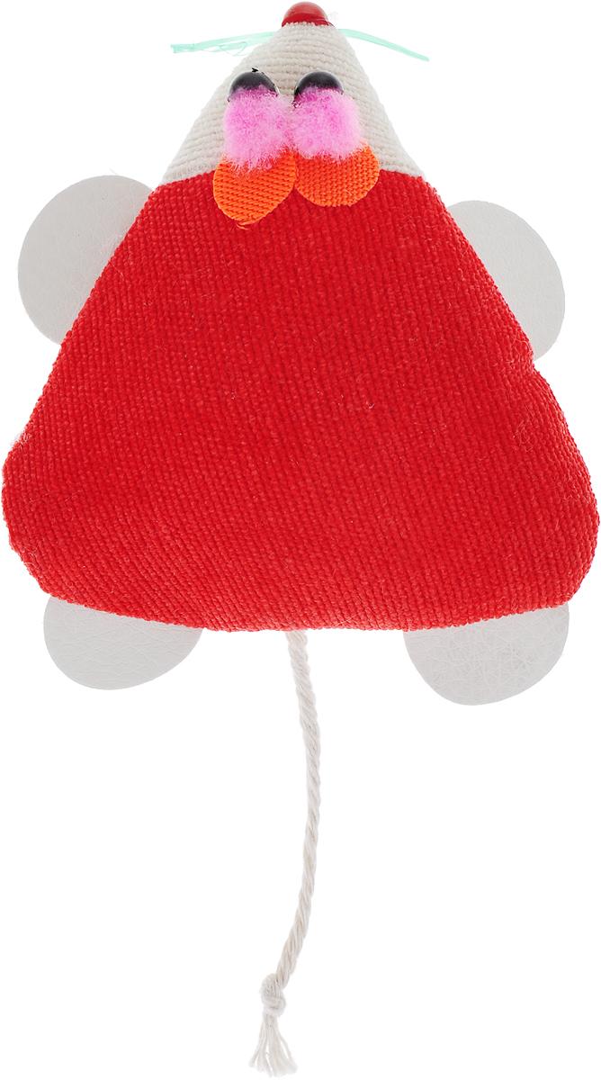 Игрушка для кошек GLG Мышка-норушка, цвет: красный, 7 х 14 х 2,5 см игрушка для кошек трикси мышка заводная 7 см