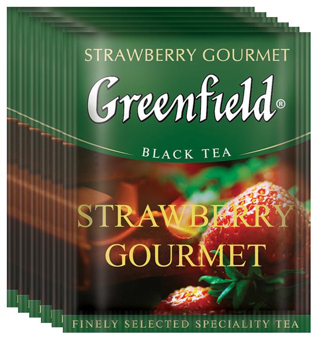 Greenfield Strawberry Gourmet черный чай в пакетиках, 100 шт greenfield classic breakfast черный листовой чай 200 г