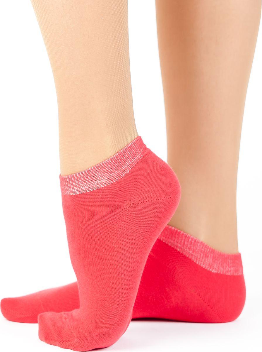 Носки женские Idilio, цвет: красный. SW 10. Размер 35/37SW 10Комфортные укороченные носки, с добавлением экологически чистого хлопка, изготовленные без применения химических красителей.