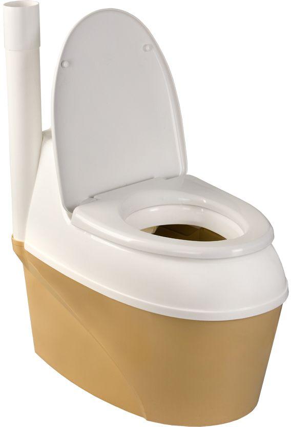"""Усовершенствованная система вентиляции и разбрасывания торфа.   Комплектация: - корпус туалета, состоящий из двух частей – верхней и нижней; - 2 метра вентиляционной трубы; - 3 муфты; - дренажный шланг (2 м); - 1 хомут для его крепления; - мешок торфяной смеси """"Piteco"""" (емкостью 20 л). Вес коробки: 17,1 кг. Объем накопительного бака: 44 л. Объем торфяного бункера: 11 л."""