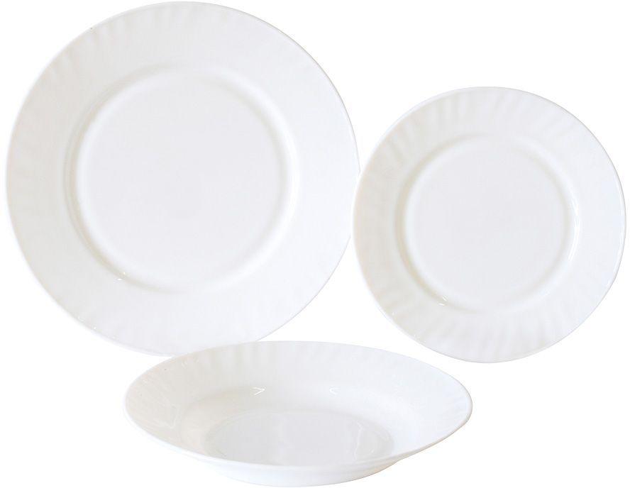 Не секрет, что любые блюда и напитки требуют красивой сервировки и особой подачи к столу. Это позволяет вам и вашим гостям насладиться не только их прекрасным вкусом, но и получить от трапезы настоящее эстетическое удовольствие. Набор столовый Rosenberg RGC-100001 станет отличным дополнением к набору посуды и прекрасно подойдет для сервировки как обеденного, так и праздничного стола.,br> Набор рассчитан на шесть персон и включает в себя 18 тарелок. Посуда выполнена из белого опалового стекла и украшена оригинальным рельефным узором. Опал широко используется в производстве столовой посуды и имеет ряд преимуществ перед другими материалами: Небольшой вес. Гигиеничность. Устойчивость к механическим воздействиям. Устойчивость к перепадам температуры. Торговая марка Rosenberg уже на протяжении многих лет пользуется неизменной популярностью на рынке посуды. При создании своей продукции компания использует как традиционные, так и современные тенденции, что позволяет добиться высоких стандартов качества и удовлетворить пожелания.