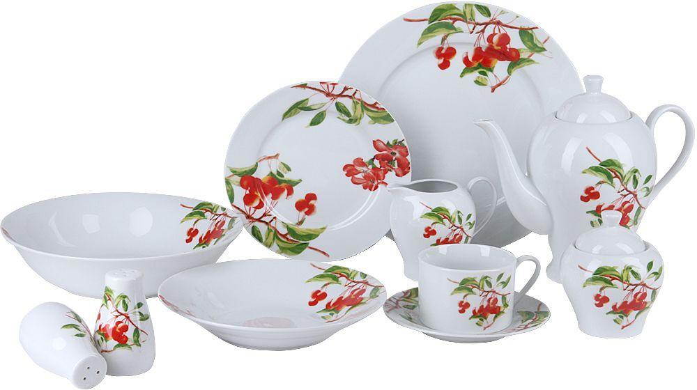 Красивая сервировка стола задает тон и настроение любому застолью, а правильное оформление вашего стола способно превратить даже самый обычный семейный обед в торжественный! Изящные блюда для сервировки стола, красивые тарелки, блестящие приборы помогают создать соответствующую атмосферу и эффектно преподнести гостям коронные блюда хозяйки. Сервируйте обеденный стол со вкусом! Сервиз столовый Rosenberg RPO-100014-26 это идеальное решение для красивой подачи первых и вторых блюд.  Набор состоит из 26 предметов и рассчитан на 4 персоны, поэтому в комплекте вы найдете большой салатник, обеденные, суповые и десертные тарелки, а также набор для сервировки чайного столика: чашки, блюдца, заварочный чайник, молочник, сахарница. Столовый набор также включает в себя емкости для сервировки специй.  Сервиз идеально впишется в любой праздничный интерьер, украсив его и создав атмосферу торжественности. Оцените достоинства этого набора. Химически нейтрален, поэтому не влияет на вкус сервируемых блюд. Прост в уходе и использовании. Долговечен при аккуратном и осторожном обращении.  Главная особенность данного столового сервиза заключается в его великолепном дизайне, который придется по душе ценителям классического исполнения. Гармоничное сочетание белоснежного фона, яркого канта придает изделиям удивительно роскошный и богатый вид. Сервиз станет настоящим украшением вашей кухни.  Состав набора: 1 салатник. 4 обеденные тарелки, 26.7 х 26.7 см. 4 суповые тарелки, 20 х 20 см. 4 десертные тарелки, 19 х 19 см. 4 чашки по 200мл. 4 блюдца, 15.5 х 15.5 см. 1 чайник заварочный, 1300мл. 1 молочник, 275л. 1 сахарница, 250г. 1 набор соль/перец по 75г. Материал фарфор.
