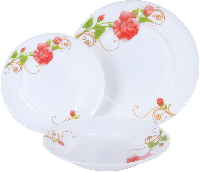 Набор столовой посуды Rosenberg, 18 предметов. RGC-100103RGC-100103Набор столовой посуды Rosenberg RGC-100101 это идеальное решение для красивой подачи первых и вторых блюд. Набор состоит из 18 предметов и рассчитан на 6 персон, поэтому в комплекте вы найдете все необходимое: десертные, обеденные тарелки и суповые тарелки. Сервиз отлично подойдет для повседневного использования, но также идеально впишется в любой праздничный интерьер, украсив его и создав атмосферу торжественности. Оцените достоинства этого набора.Столовый сервиз выполнен из опалового ударопрочного стекла, который обладает целым рядом преимуществ: Этот материал экологически чист, так как при его производстве не используются вредные примеси. Химически нейтрален, поэтому не влияет на вкус сервируемых блюд. Прост в уходе и использовании. Долговечен при аккуратном и осторожном обращении. Устойчив к резким перепадам температуры. Не теряет своих качеств даже после многолетнего использования. Главная особенность данного столового сервиза заключается в его великолепном дизайне, который придется по душе ценителям классического исполнения. Гармоничное сочетание простых и лаконичных форм, гладких стенок, универсального белого цвета и элегантного цветочного рисунка придает изделиям удивительно роскошный вид. Сервиз станет настоящим украшением вашей кухни.