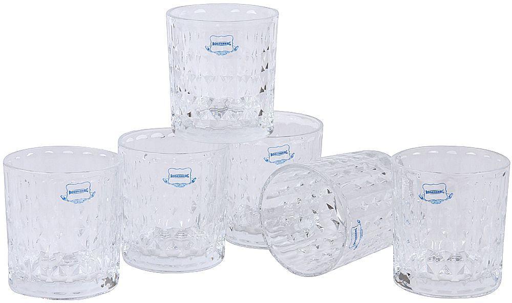 Набор стаканов Rosenberg станет замечательным дополнением к вашему праздничному столу. Благодаря оригинальному дизайну может стать замечательным подарком. Стаканы предназначены для подачи сока, воды и других напитков. Стаканы сочетают в себе элегантный дизайн и функциональность. Благодаря такому набору пить напитки будет еще вкуснее. Стаканы изготовлены из высококачественного стекла. В набор входят 6 стаканов по 330 мл.