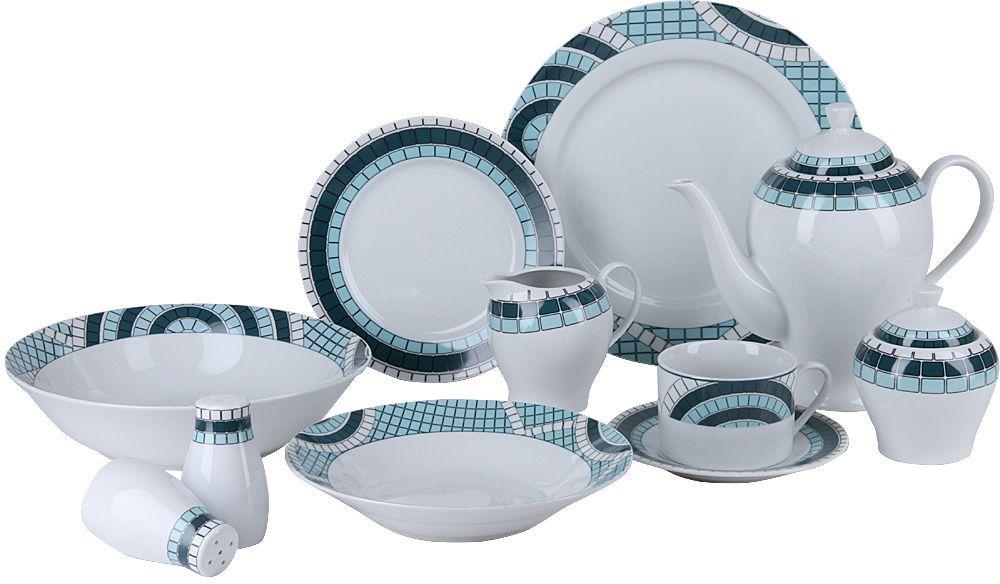Набор столовой посуды Rosenberg, 26 предметов. RPO-100015-26RPO-100015-26Красивая сервировка стола задает тон и настроение любому застолью, а правильное оформление вашего стола способно превратить даже самый обычный семейный обед в торжественный! Изящные блюда для сервировки стола, красивые тарелки, блестящие приборы помогают создать соответствующую атмосферу и эффектно преподнести гостям коронные блюда хозяйки. Сервируйте обеденный стол со вкусом! Сервиз столовый Rosenberg RPO-100014-26 это идеальное решение для красивой подачи первых и вторых блюд.Набор состоит из 26 предметов и рассчитан на 4 персоны, поэтому в комплекте вы найдете большой салатник, обеденные, суповые и десертные тарелки, а также набор для сервировки чайного столика: чашки, блюдца, заварочный чайник, молочник, сахарница. Столовый набор также включает в себя емкости для сервировки специй.Сервиз идеально впишется в любой праздничный интерьер, украсив его и создав атмосферу торжественности. Оцените достоинства этого набора. Химически нейтрален, поэтому не влияет на вкус сервируемых блюд. Прост в уходе и использовании. Долговечен при аккуратном и осторожном обращении.Главная особенность данного столового сервиза заключается в его великолепном дизайне, который придется по душе ценителям классического исполнения. Гармоничное сочетание белоснежного фона, яркого канта придает изделиям удивительно роскошный и богатый вид. Сервиз станет настоящим украшением вашей кухни.Состав набора: 1 салатник. 4 обеденные тарелки, 26.7 х 26.7 см. 4 суповые тарелки, 20 х 20 см. 4 десертные тарелки, 19 х 19 см. 4 чашки по 200мл. 4 блюдца, 15.5 х 15.5 см. 1 чайник заварочный, 1300мл. 1 молочник, 275л. 1 сахарница, 250г. 1 набор соль/перец по 75г. Материал фарфор.