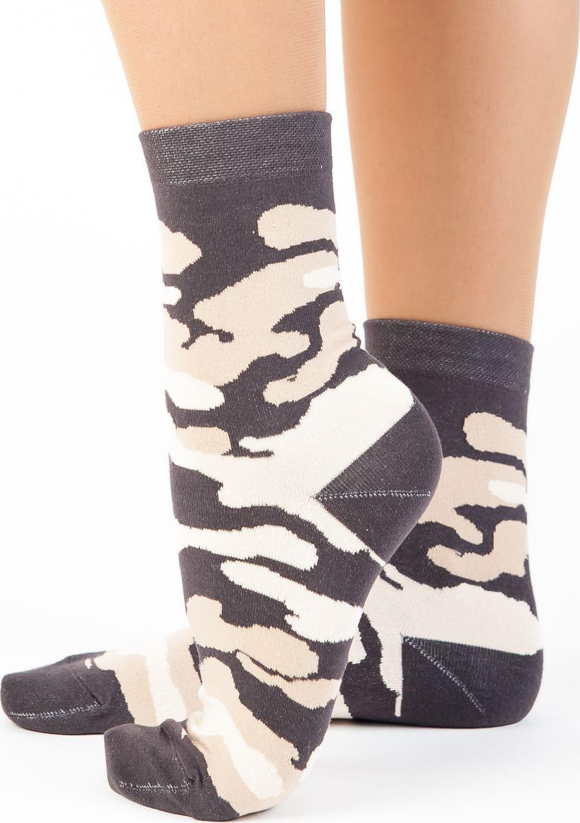 Носки женские Idilio, цвет: темно-зеленый. SW 09. Размер 35/37SW 09Комфортные носки, с принтом камуфляж с добавлением экологически чистого хлопка, изготовленные без применения химических красителей.