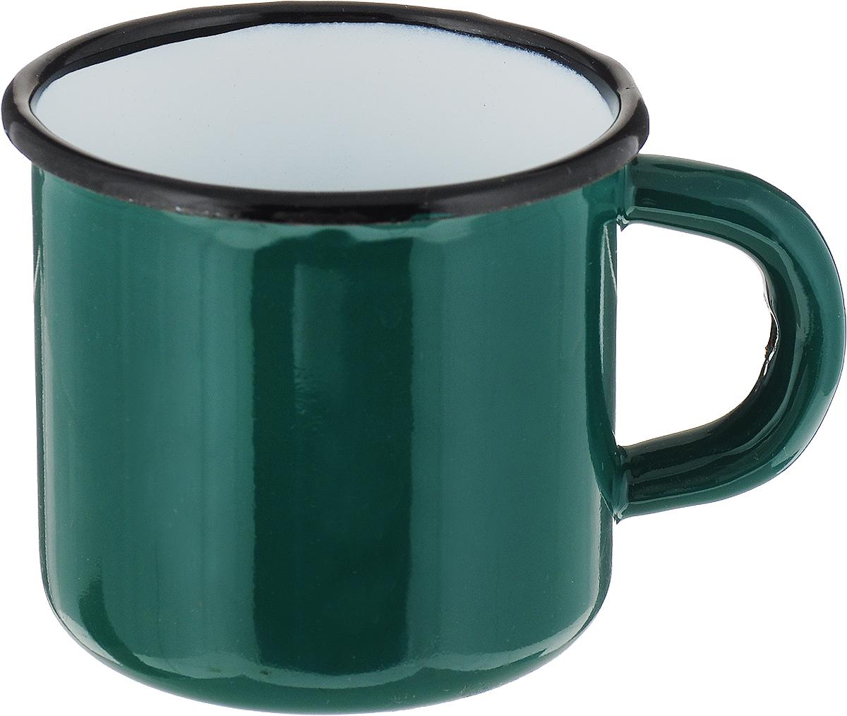 Кружка эмалированная СтальЭмаль, цвет: зеленый, 250 мл2с1_зеленый