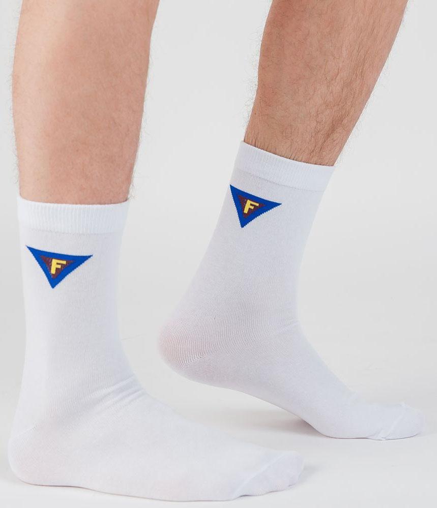 Носки мужские Idilio, цвет: белый. SM 09. Размер 39/41SM 09Комфортные носки, с модным принтом футбол, с добавлением экологически чистого хлопка, изготовленные без применения химических красителей.