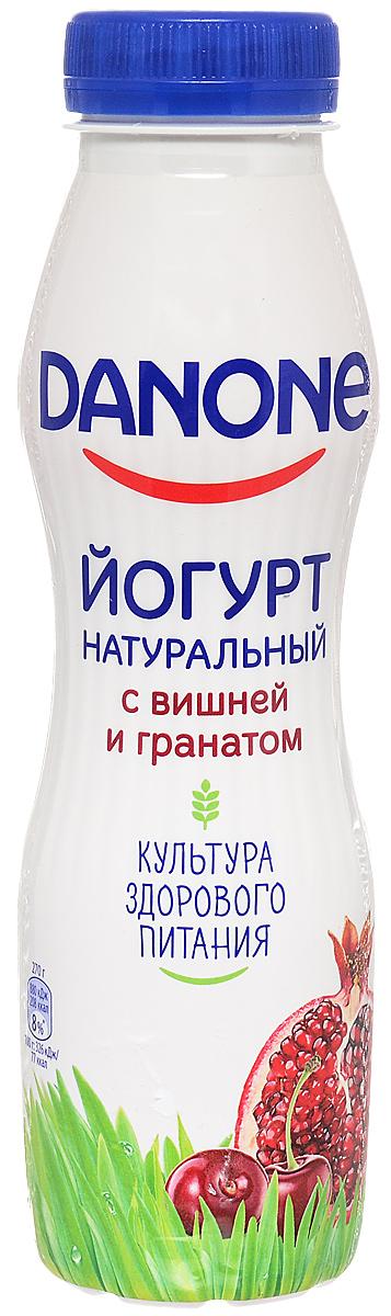 Danone Йогурт питьевой Вишня гранат 2,1%, 270 г danone йогурт густой персик 2 9% 110 г