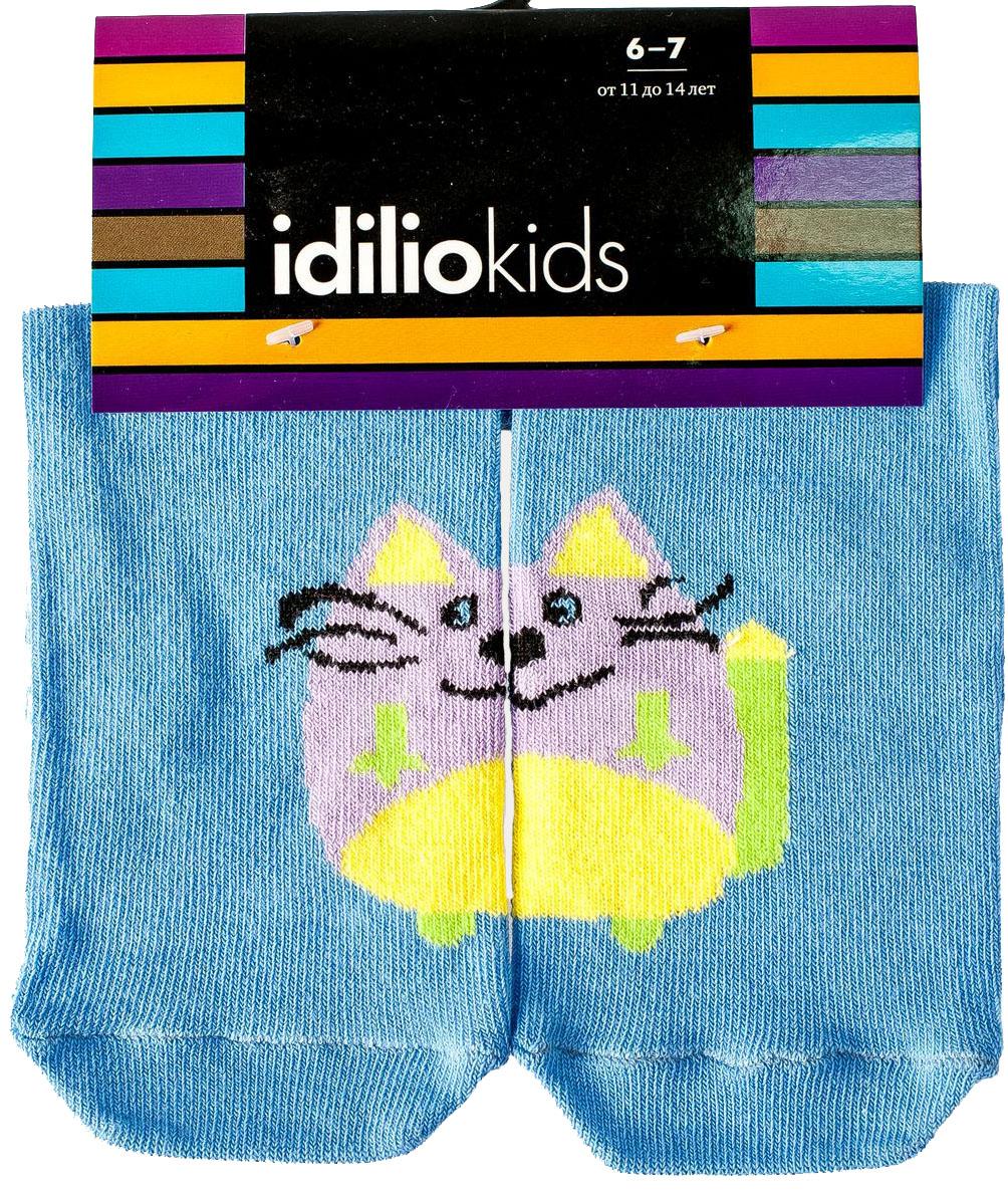 Носки детские Idilio, цвет: голубой. SKU10. Размер 21/23SKU10Комфортные носки для детей с добавлением экологически чистого хлопка, изготовленные без применения химических красителей.